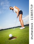 Smiling Woman Golf Player...