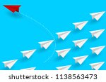 red paper plane changing... | Shutterstock .eps vector #1138563473