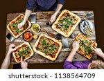 home made italian pizza ... | Shutterstock . vector #1138564709