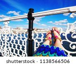 pink sandals fashion shoes  ... | Shutterstock . vector #1138566506