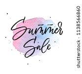 summer sale brush lettering on... | Shutterstock .eps vector #1138566860