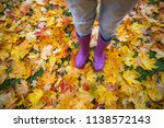 autumn mood   feet in gumboots... | Shutterstock . vector #1138572143