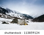 old style tent on snow mountain ... | Shutterstock . vector #113859124