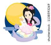 moon goddess and rabbit on her... | Shutterstock .eps vector #1138593269