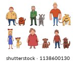 Stock photo dogs look like their owners people walking their dogs cartoon characters illustration isolated 1138600130