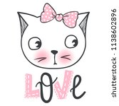 vector cute fashion cat.... | Shutterstock .eps vector #1138602896