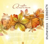 autumn background with leaves.  ... | Shutterstock .eps vector #113860474