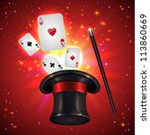 magic hat playing cards and... | Shutterstock .eps vector #113860669