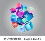 light multicolored cubes float...   Shutterstock .eps vector #1138616159
