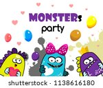 party monster banner. cartoon... | Shutterstock .eps vector #1138616180