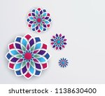 3d colorful geometric flowers...   Shutterstock . vector #1138630400