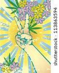 hand gesturing symbol of peace... | Shutterstock . vector #113863594