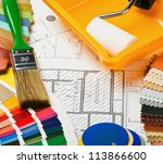 paints  brushes and accessories ... | Shutterstock . vector #113866600