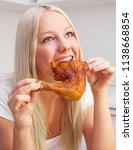 beautiful young blond woman... | Shutterstock . vector #1138668854