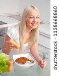 beautiful young blond woman... | Shutterstock . vector #1138668860