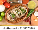 typical mexican food dishes... | Shutterstock . vector #1138673876