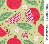 seamless pattern. pomegranate...   Shutterstock .eps vector #1138687889