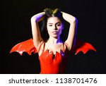 lady sexi dressed as demon ... | Shutterstock . vector #1138701476