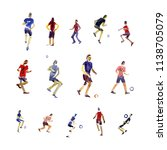 soccer player kicks the ball... | Shutterstock . vector #1138705079
