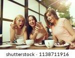 two girl friends spending time... | Shutterstock . vector #1138711916