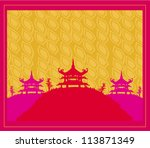 old paper with asian landscape | Shutterstock .eps vector #113871349