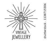 vintage jewellery logo. outline ...   Shutterstock .eps vector #1138715306