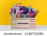 box with various school and... | Shutterstock . vector #1138732280
