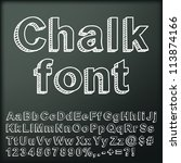 abstract chalk font. vector... | Shutterstock .eps vector #113874166