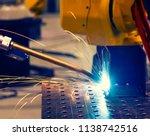 close up robot welding... | Shutterstock . vector #1138742516