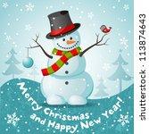 vector snowman. eps 10 vector... | Shutterstock .eps vector #113874643