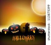 halloween full moon night... | Shutterstock .eps vector #113875399