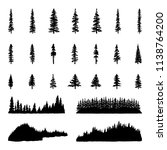 tree silhouettes hand drawn... | Shutterstock .eps vector #1138764200