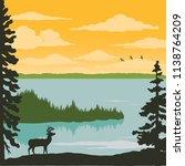vintage nature poster   elk at... | Shutterstock .eps vector #1138764209