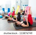 aerobics pilates women group... | Shutterstock . vector #113876749