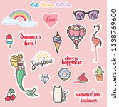 cute stickers collection  ... | Shutterstock .eps vector #1138769600