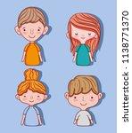 set of cute kids cartoons | Shutterstock .eps vector #1138771370