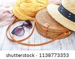 fashionable handmade natural...   Shutterstock . vector #1138773353