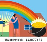 smiling woman receives money in ... | Shutterstock .eps vector #113877676