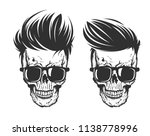 illustration of skull with hair ... | Shutterstock .eps vector #1138778996