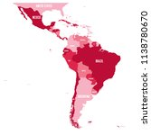 political map of latin america. ... | Shutterstock .eps vector #1138780670