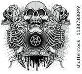black metal sign skull and... | Shutterstock .eps vector #1138783049