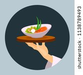 hand holding a tray with a dish.... | Shutterstock .eps vector #1138789493