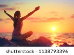 relaxation and yoga at sunset   ... | Shutterstock . vector #1138793396