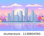 color sunset sky and city... | Shutterstock .eps vector #1138804583