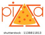 inscription pizza with a slice... | Shutterstock .eps vector #1138811813