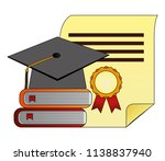 parchment diploma and hat... | Shutterstock .eps vector #1138837940