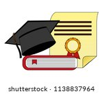 parchment diploma and hat... | Shutterstock .eps vector #1138837964