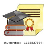 parchment diploma and hat... | Shutterstock .eps vector #1138837994