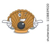 wink shell with pearl character ...   Shutterstock .eps vector #1138839020