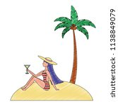 woman in swimsuit with beach...   Shutterstock .eps vector #1138849079